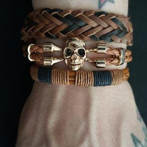Other - 3 piece Tan & black leather skull Bracelet set